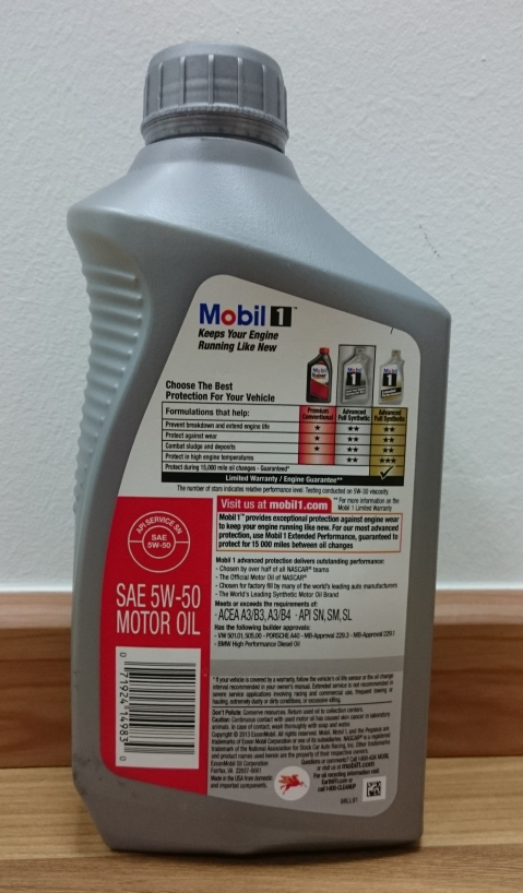 Mobil 1 5w50 advanced full synthetic engine oil 1 us quart for 5w 50 synthetic motor oil